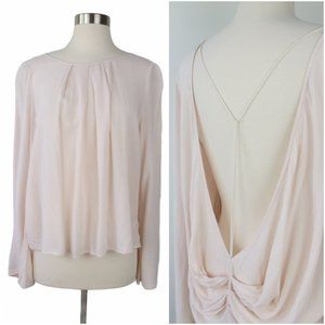 FREE PEOPLE Pale Pink Open Back Bell Sleeve Top